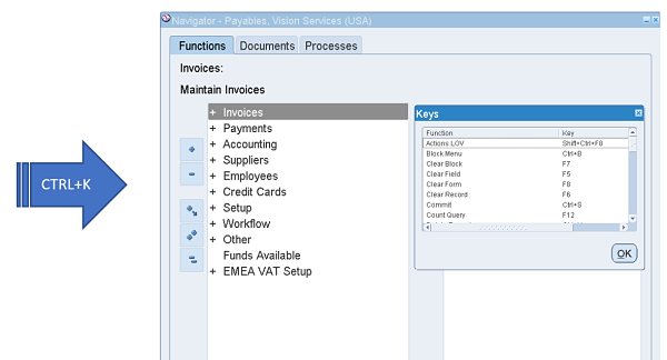 Keyboard Shortcuts in Oracle Applications - More4Apps Excel to
