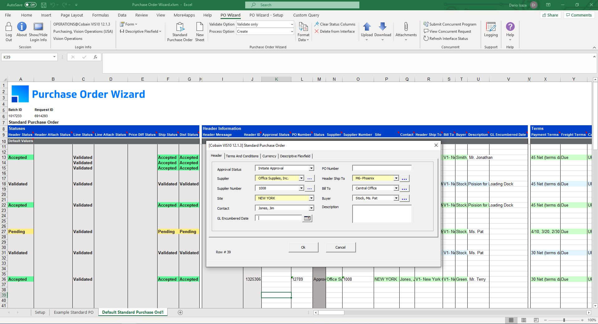 Product Screenshot More4apps Purchase Order Wizard for Oracle E-Business Suite