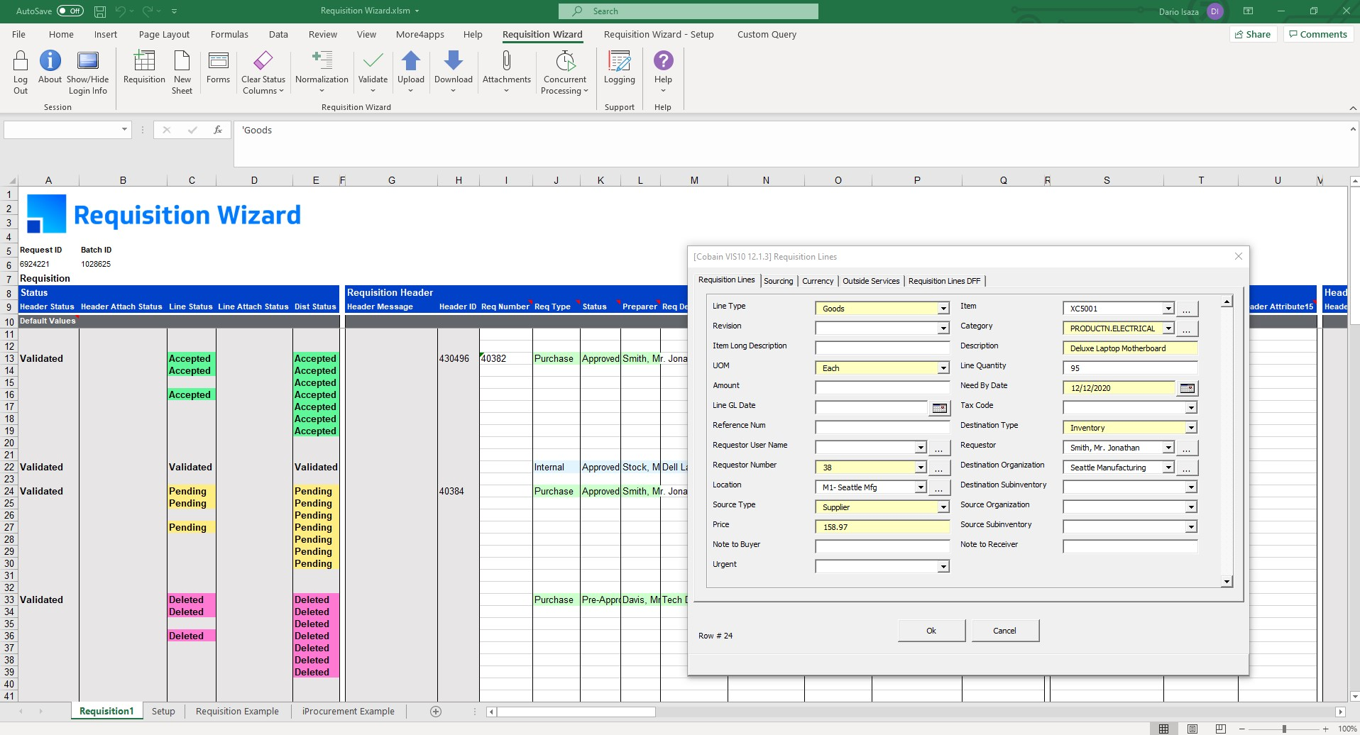 Product Screenshot More4apps Requisition Wizard for Oracle E-Business Suite