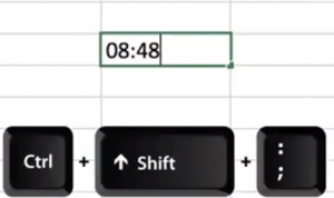 Save time when wanting to insert the time in excel hit the ctrl key plus shift key and semi colon