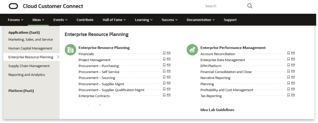 By selecting the Enterprise Resource Planning tab users can view a menu of options